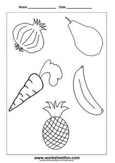 Coloring Fruits And Vegetables With Images Kindergarten