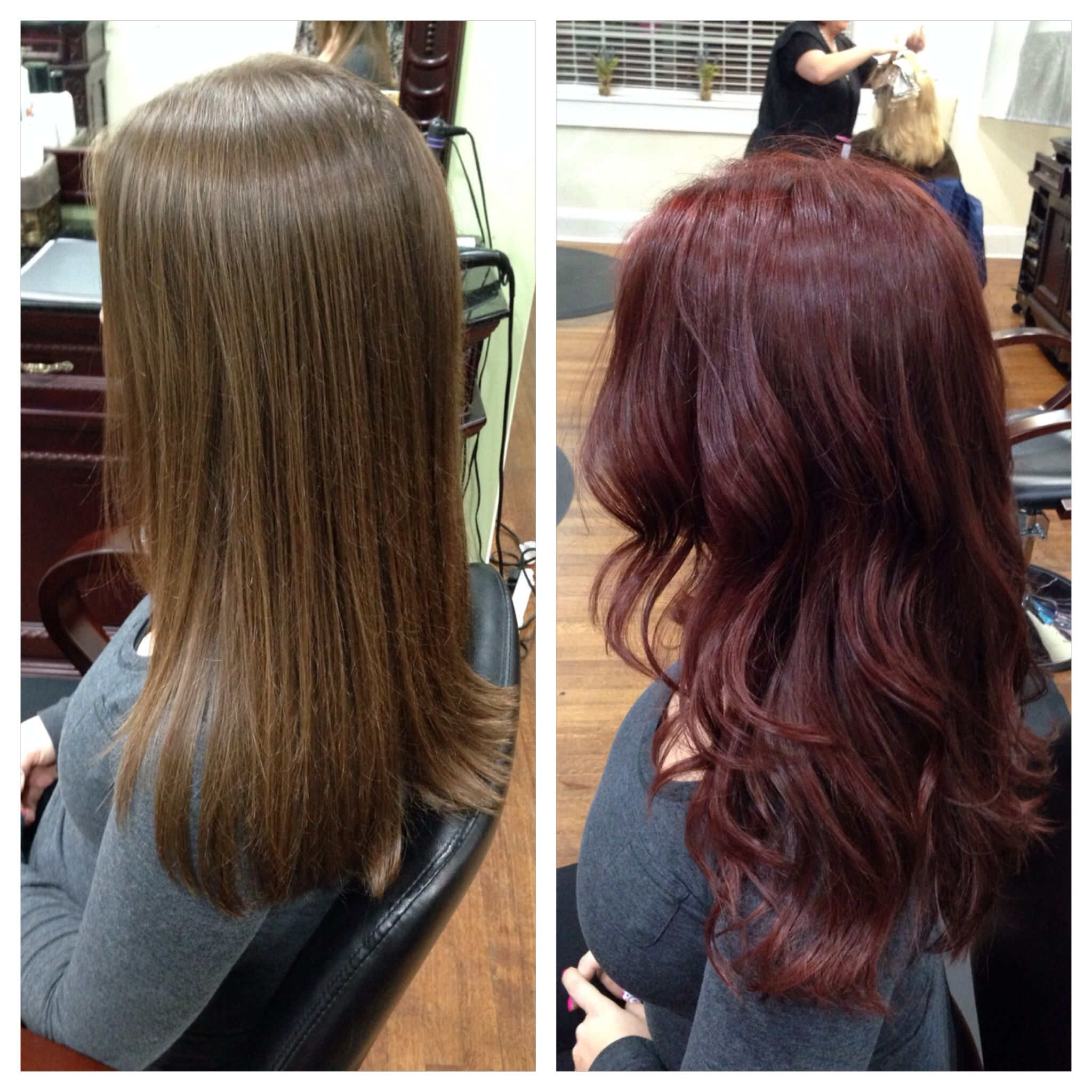 Before And After Red Hair Long Layers Redken Chromatics Color Hair By Georgia