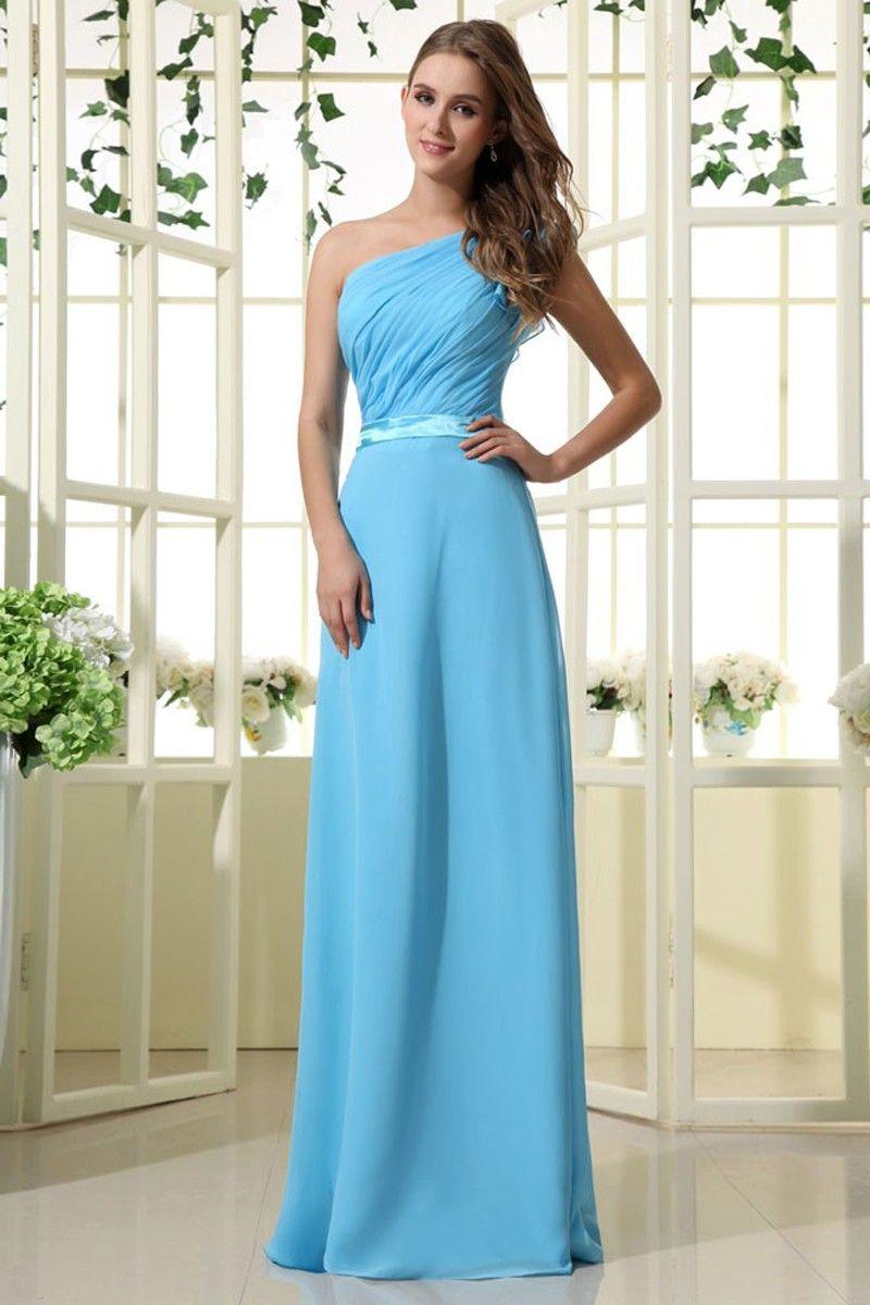 Aline one shoulder blue chiffon floorlength dress bridesmaids