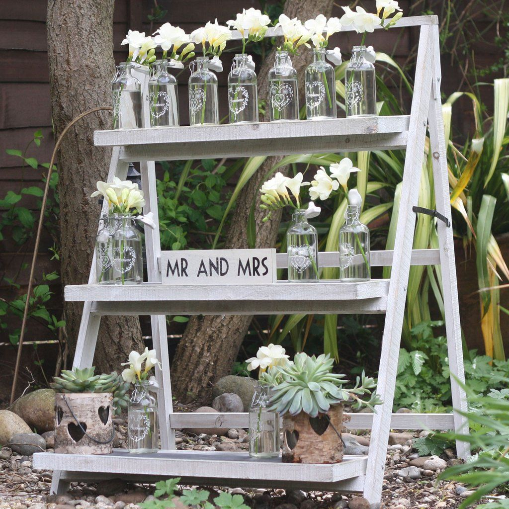 Rustic Ladders Display Stand – The Wedding of My Dreams | Rustic wedding  table, Wedding photo display, Wedding table plan