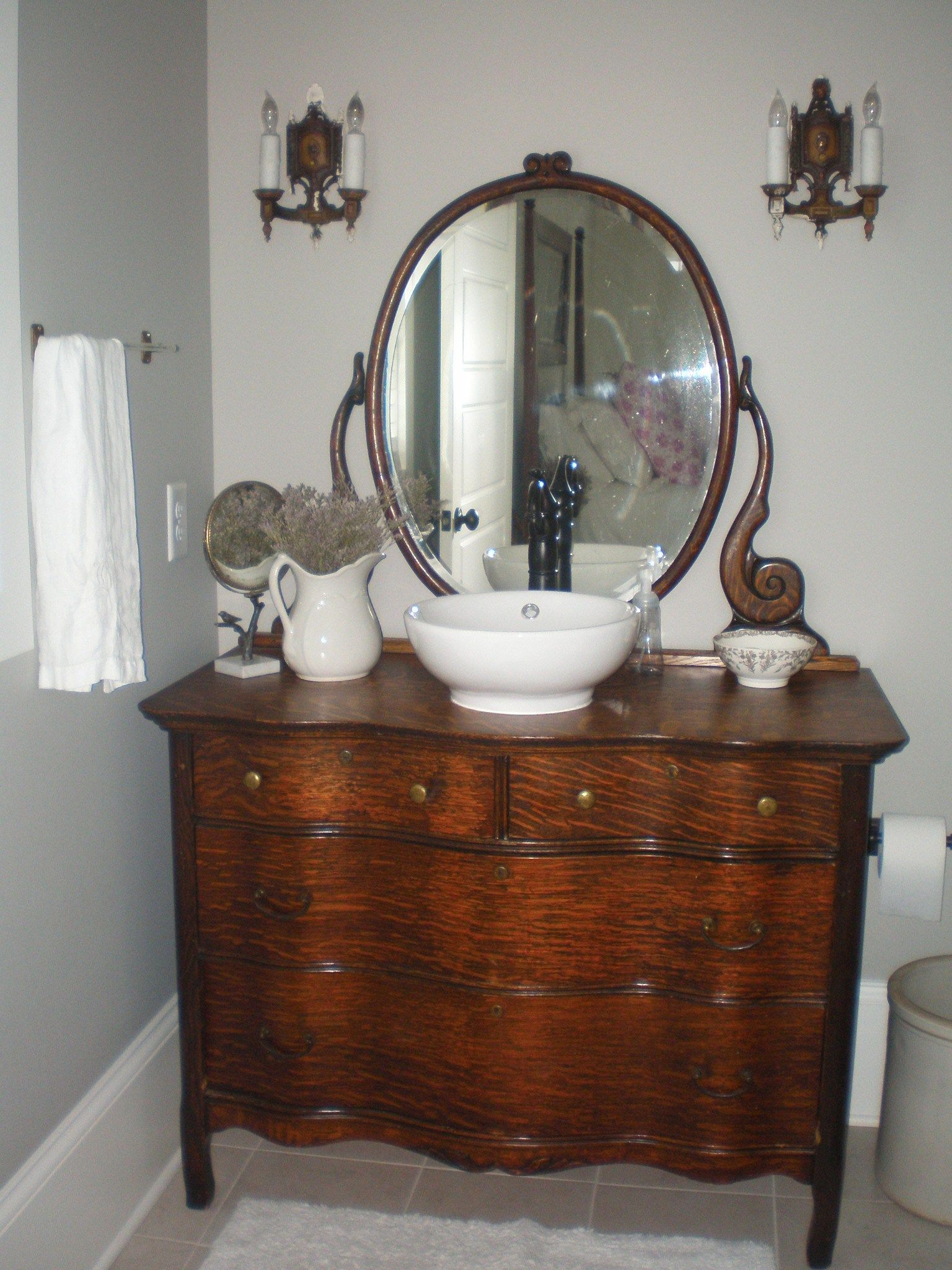 Best Antique Dresser Bathroom Sink Or This One For My Cabin 400 x 300