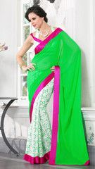 #Green and white colour  bambera cotton material designer #saree #sari gives the perfect traditional look