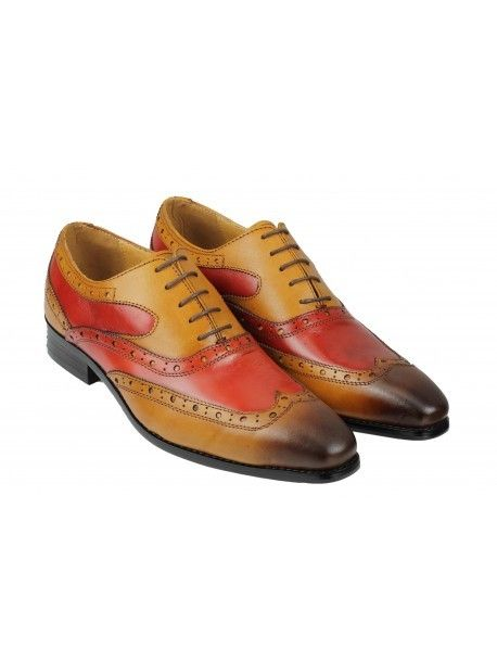 Multi Color Oxford Burnished Wing Tip Fashionable Real leather Handmade Shoes