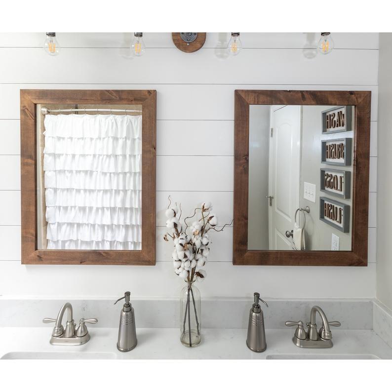 "Set of 2 Farmhouse Bathroom Mirrors 24"" x 31"" in 2020"