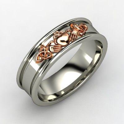 14K White Gold Ring | Claddagh Knot Band | Gemvara