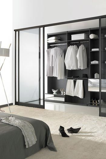 s paration de pi ce chambre dressing profil noir mat vitre fum e noire d co chambre paul. Black Bedroom Furniture Sets. Home Design Ideas