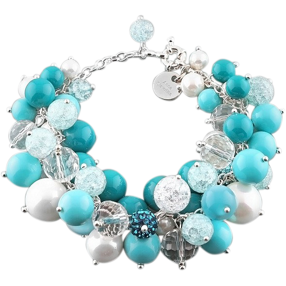Handcrafted Artisan Bracelet @rubylanecom Blue and white bracelet: imitation pearls,quartz, cat's eye, crystal and sparkle beads. Turquoise blue and aquamarine colors. #rubylane #artisan