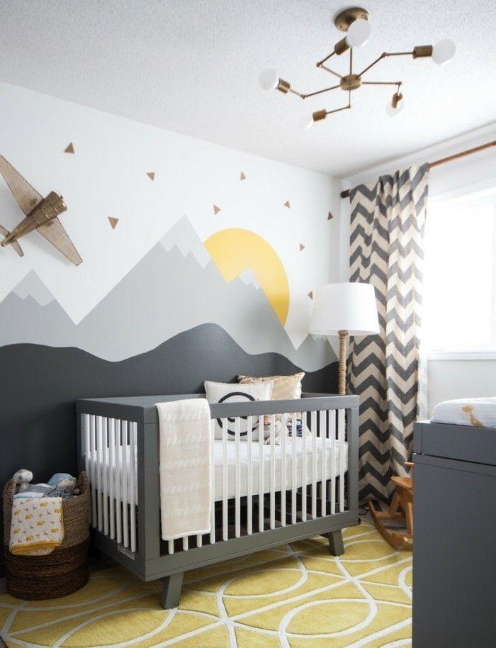 Babyzimmer Kreative Wandgestaltung Gitterbett Grau
