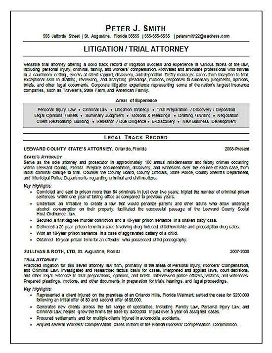 Trial Attorney Resume Example  Lawyer Resume Examples