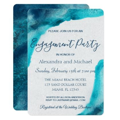 Organic Ocean Blue Watercolor Engagement Party Invitation Zazzle