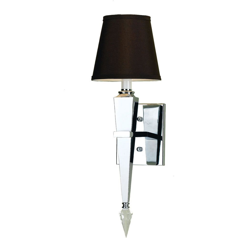 The Candice Olson Margo Wall Sconce Is Finished In Chrome With Hard Wiring Sconces Crystal Accents And Has A Chocolate Poly Silk Back Shade It Includes Two Finials