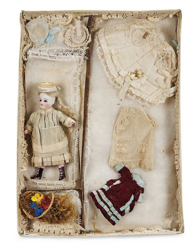 French All-Bisque Mignonette in Original Presentation Box with Costumes 1200/1500   Proxibid Auctions