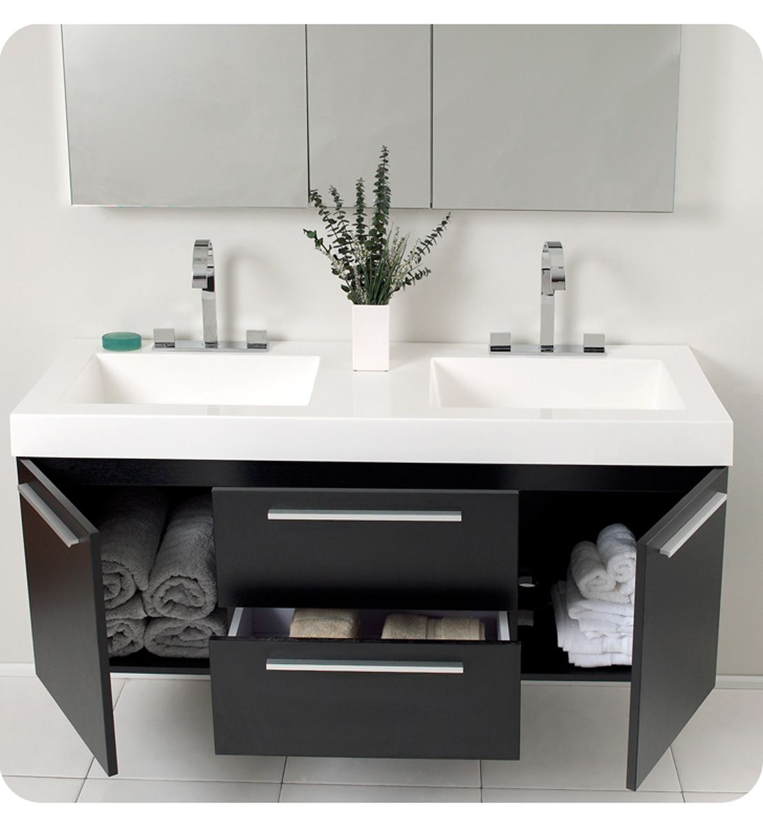 Awesome Modern Floating Vanity With Black Wooden Drawers And Doors Mixed White Fibergl Trough Sinks As Well Double Bathroom Vanities Small