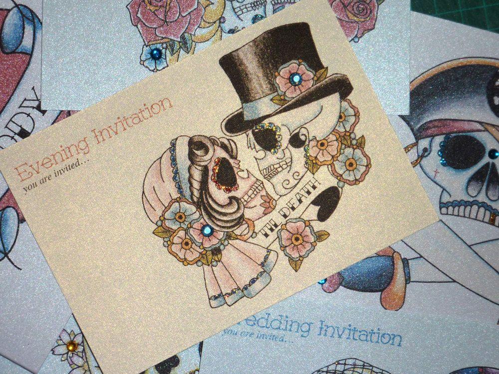 Pack of 10 Tattoo Bride & Groom - Til Death - Sugar Skull Handmade Evening Invitations. £9.00, via Etsy.