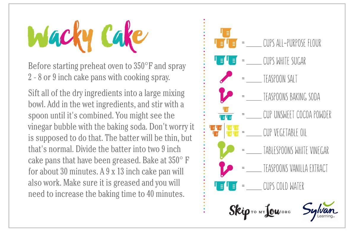 Wacky Cake Recipe {printable math recipe cards}