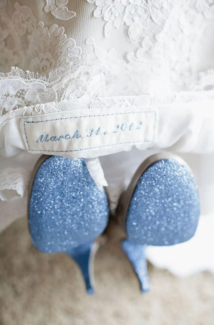 Embroidered wedding date in blue and blue soled shoes we this