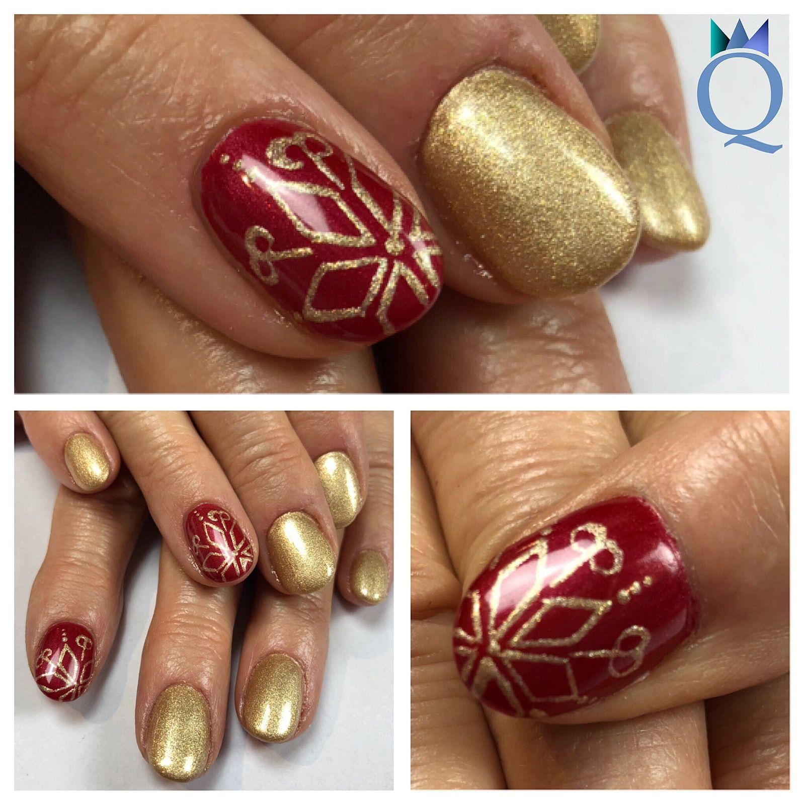 shortnails #gelnails #nails #christmasnails #red #gold #glitter ...