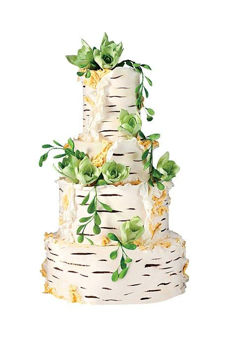 The sugar birch-bark ruffles on this cake complement a venue's rustic-chic décor. A cake like this really conjures up an image of the entire wedding: After the cutting, guests will gather 'round for a sweet slow dance to a Bright Eyes ballad played on the banjo by a bearded Ryan Gosling lookalike. Rustic fondant birch-bark wedding cake, $15 per slice (serves 80), Lael Cakes See more rustic wedding cakes.