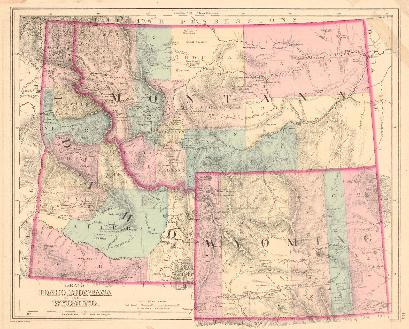 Map Antique Grays Idaho Montana And Wyoming OW Gray Son - Map of montana and wyoming