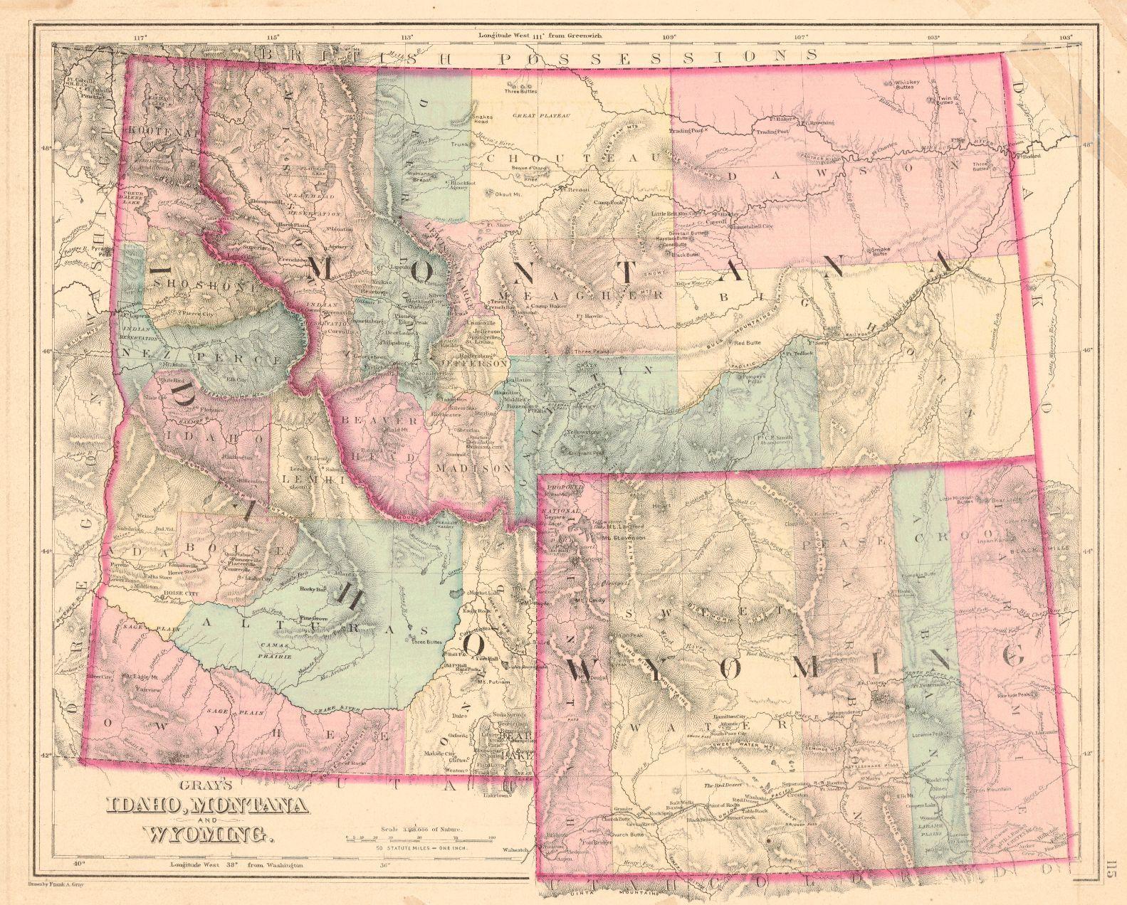 Map Antique Gray S Idaho Montana And Wyoming O W Gray Son C1874