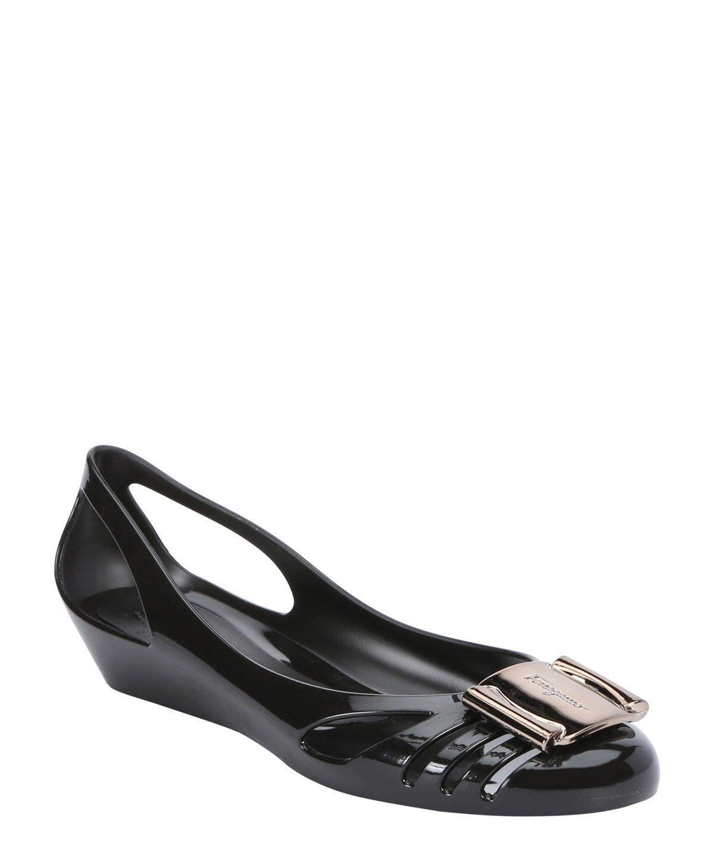 0bcce412c1d8 SALVATORE FERRAGAMO Black Pvc Cut-Out  Bermuda  Jelly Ballet Flats .   salvatoreferragamo  shoes  flats