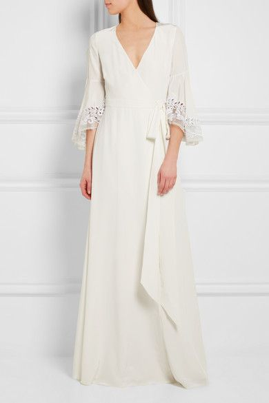 White Rosemary Embroidered Tulle Trimmed Silk Crepe De Chine Gown Temperley London Long Sleeve Gown Dresses Temperley Dress