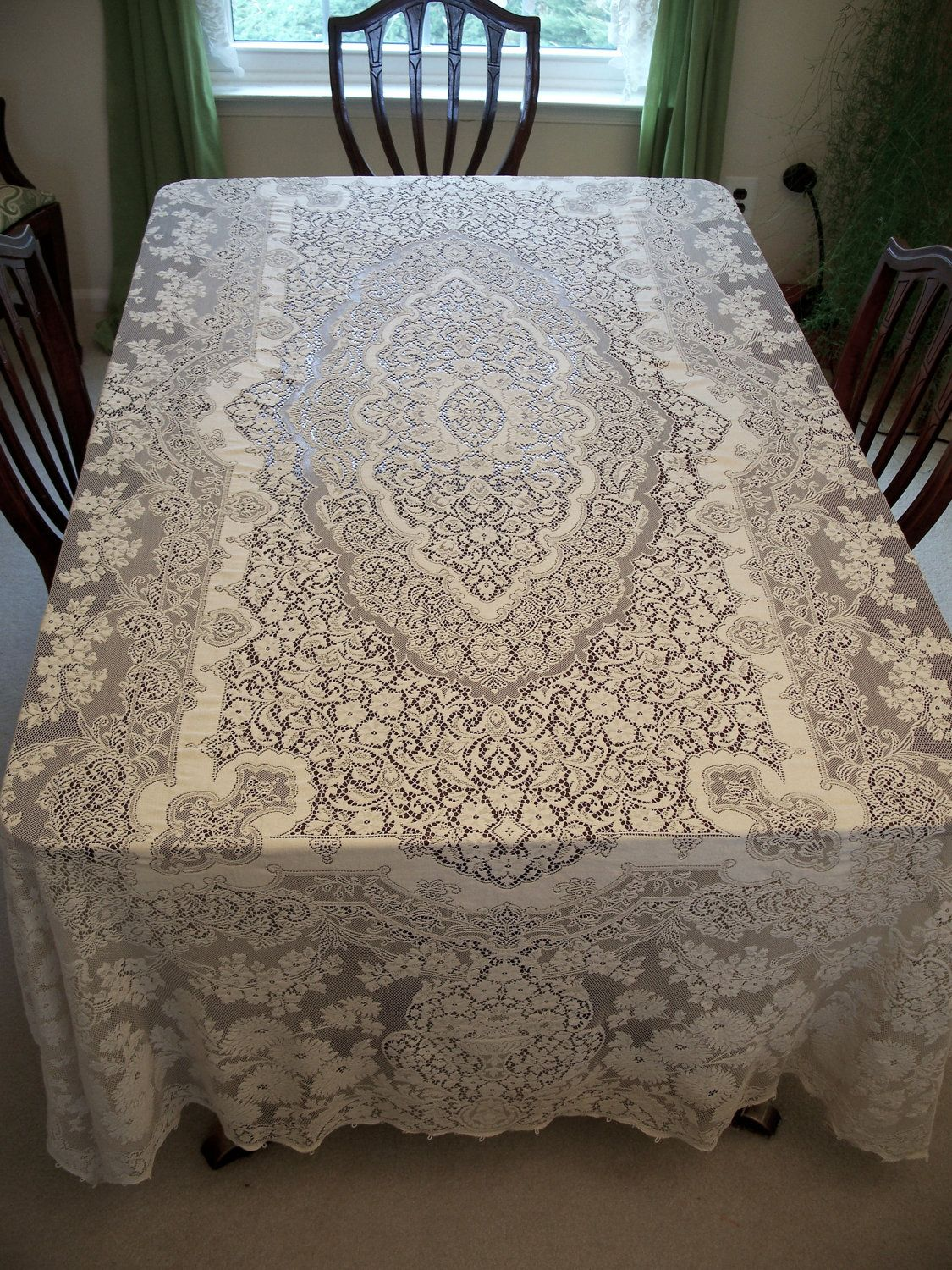 """Gorgeous Flower Embroidery Wide Lace White Topper Table Cloth 24/"""""""