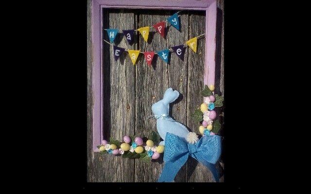 Frame easter decoration #homemade#felt#chalkframe