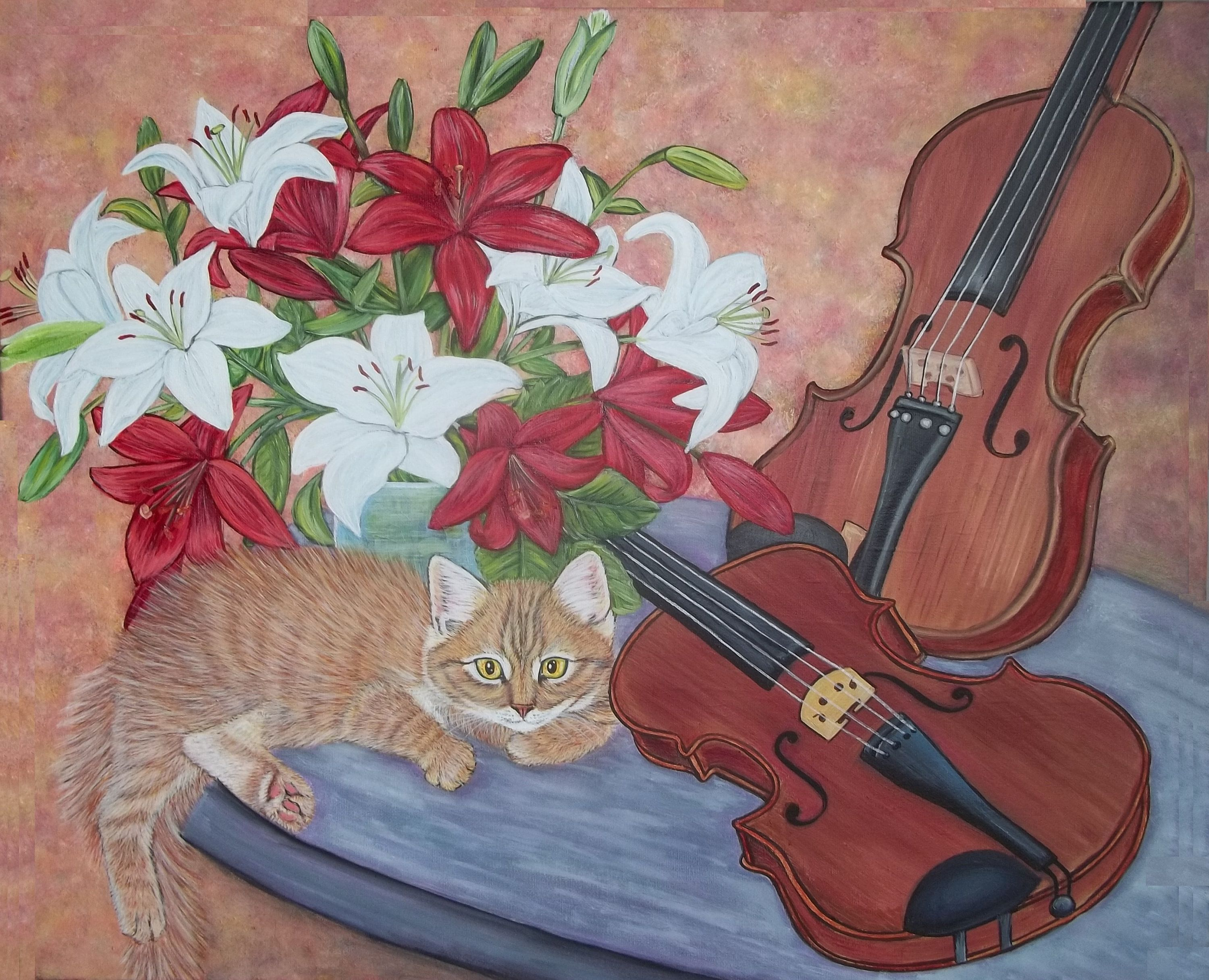 Kitten Violines And Lilies Painting Kittens Lily