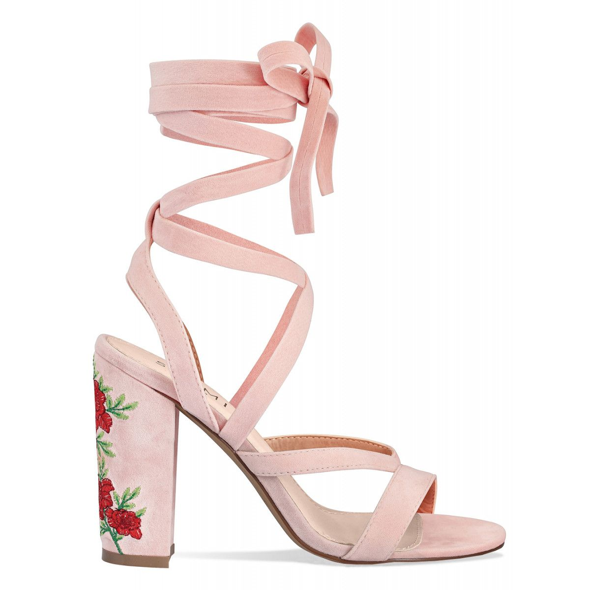 Paloma Pink Suede Lace Up Floral Heels Simmi Shoes Shoes