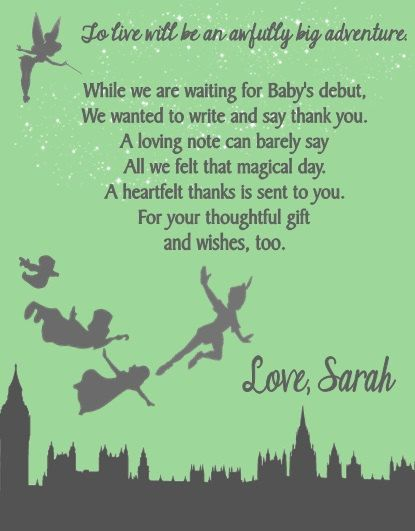 Peter Pan Baby Shower Or Birthday Party Thank You Note Cards