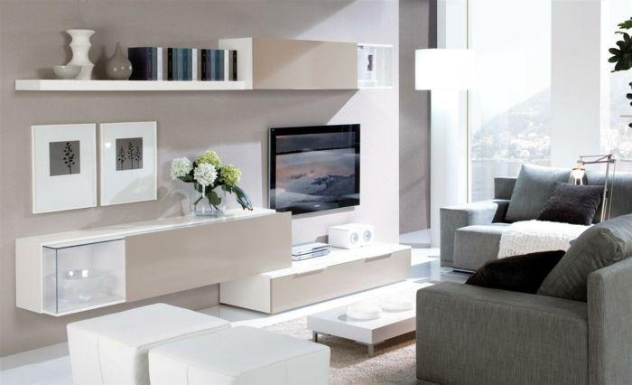 kleines wohnzimmer einrichten wandregale schränke kommode weiß - wohnzimmer beige wei