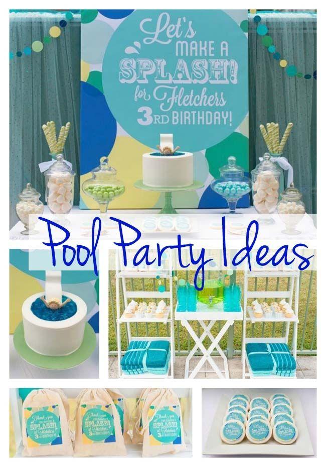 Pool Party Ideas For Boys pool party ideas printables kids summer birthday birdspartycom Pool Birthday Party Summer Ideas