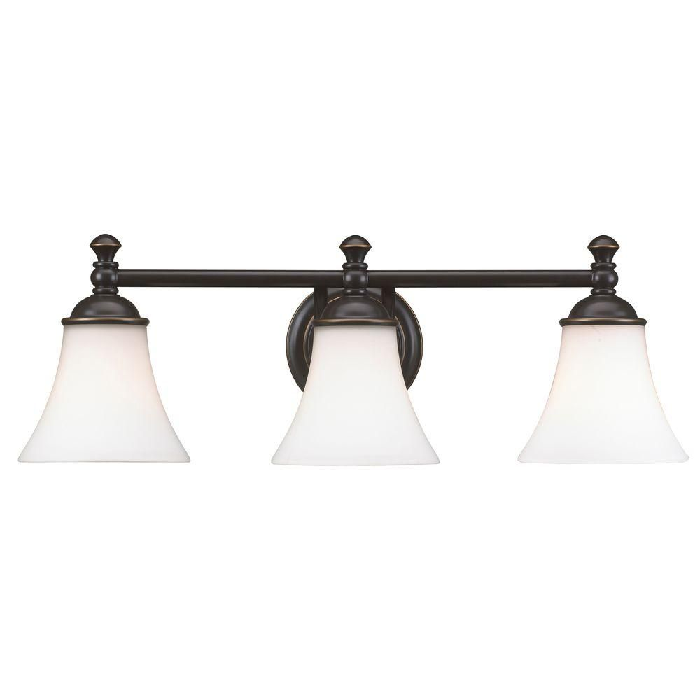 Hampton Bay Crawley 3 Light Oil Rubbed Bronze Vanity Light With White Glass Shades Ad065 W3 Bathroom Light Fixtures Light Fixtures Vanity Light Fixtures