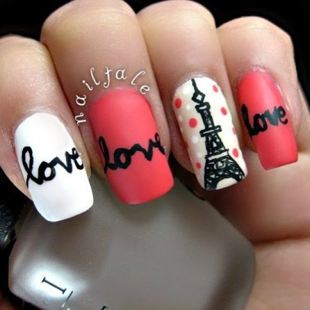 I love Paris nail art, how about you Fashionista? These are Sweet and soft  combination color of nail polishes with soft pink and white. - Paris Nails - Instagram Photo By Nailtale Beauty - Nails