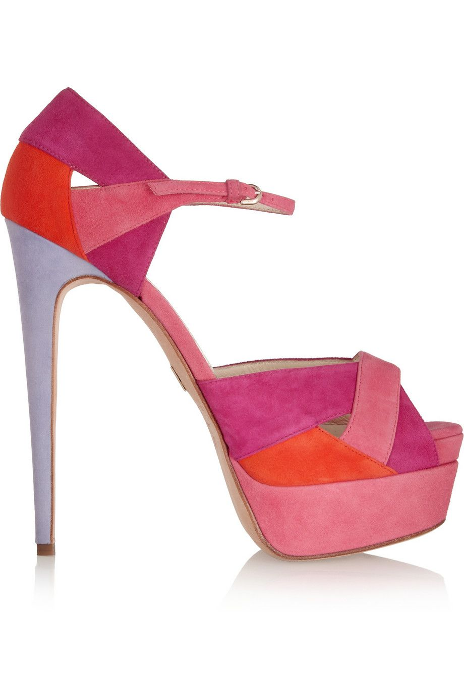 d2b245a11eca Brian Atwood Aida Colorblock Suede Sandals in Pink