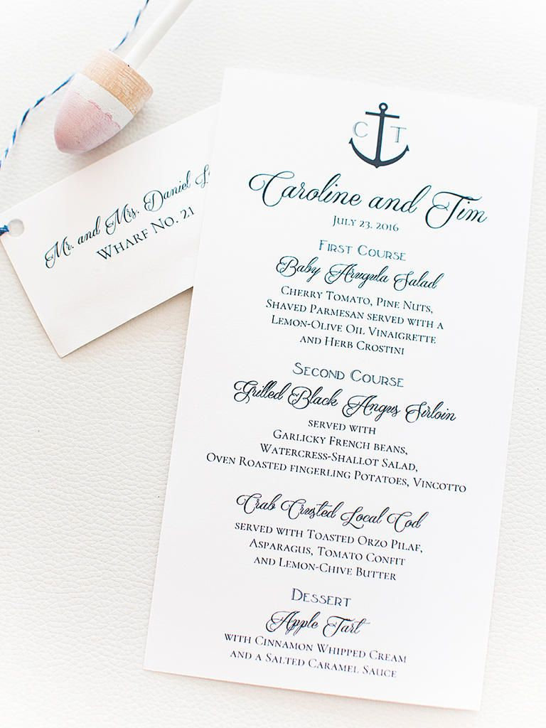 16 Ideas To Inspire Your Nautical Wedding   Ceremony programs, Menu ...