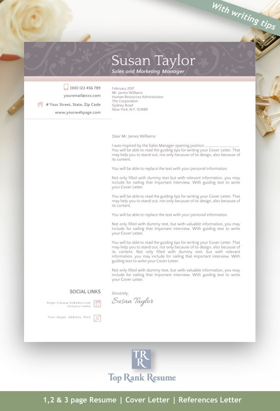 Pro Kit Resume, Cover Letter, References Letter Template + Free