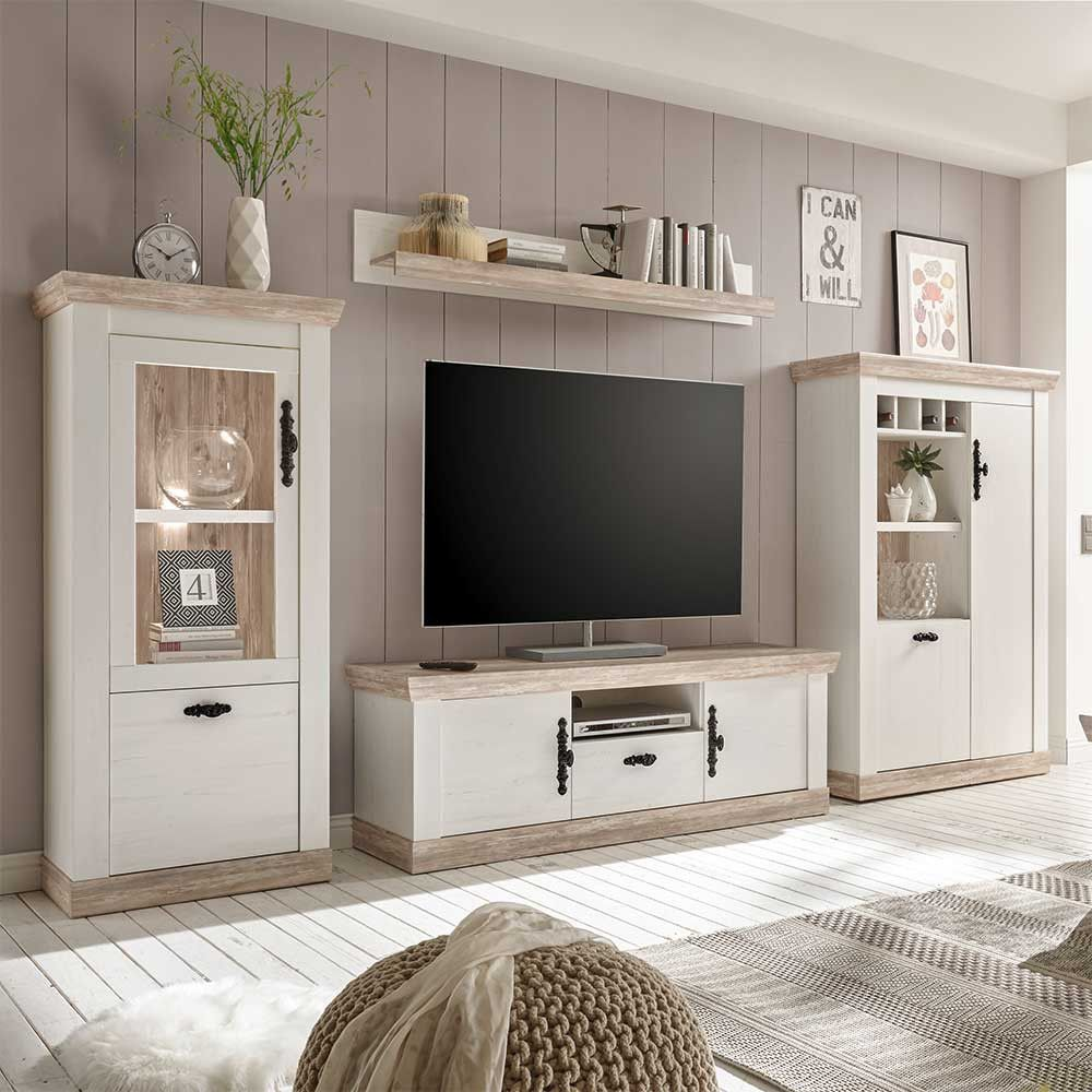 Tv Wohnwand Flurencina Im Landhaus Design In Weiß Kiefer Living Room Decor Country Country Style Homes Wall Unit
