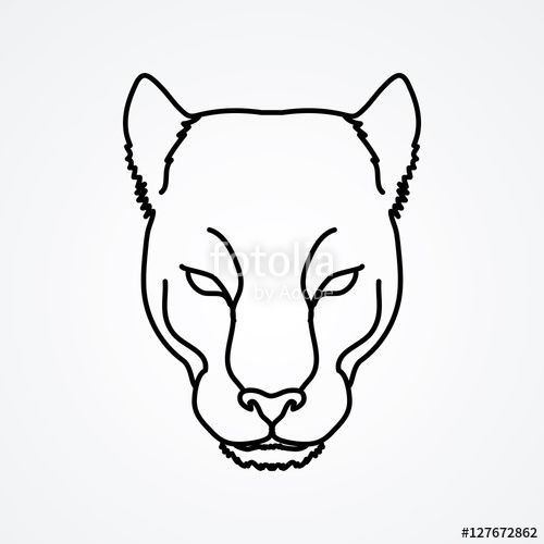 Vector Black Panther Head Outline Graphic Vector Black Panther