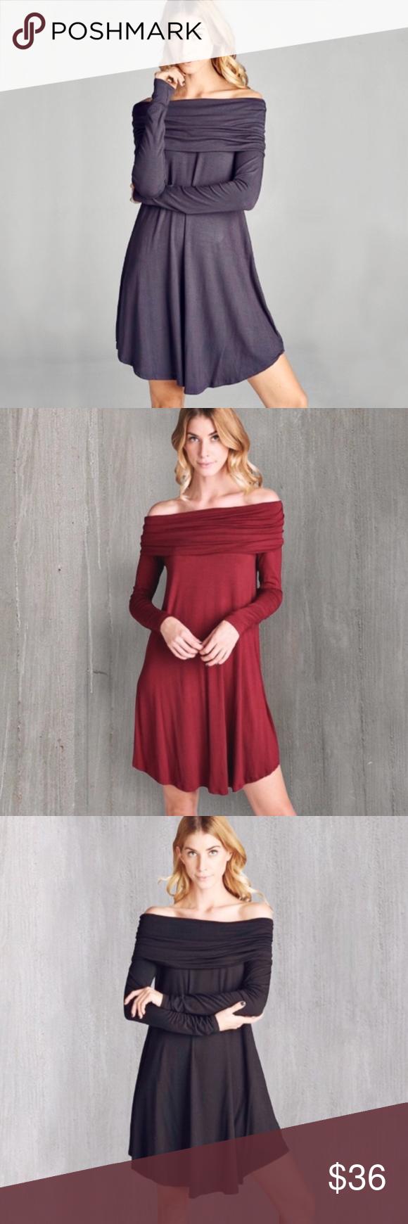 Off the shoulder steel grey trapeze dress red black sleeved dress