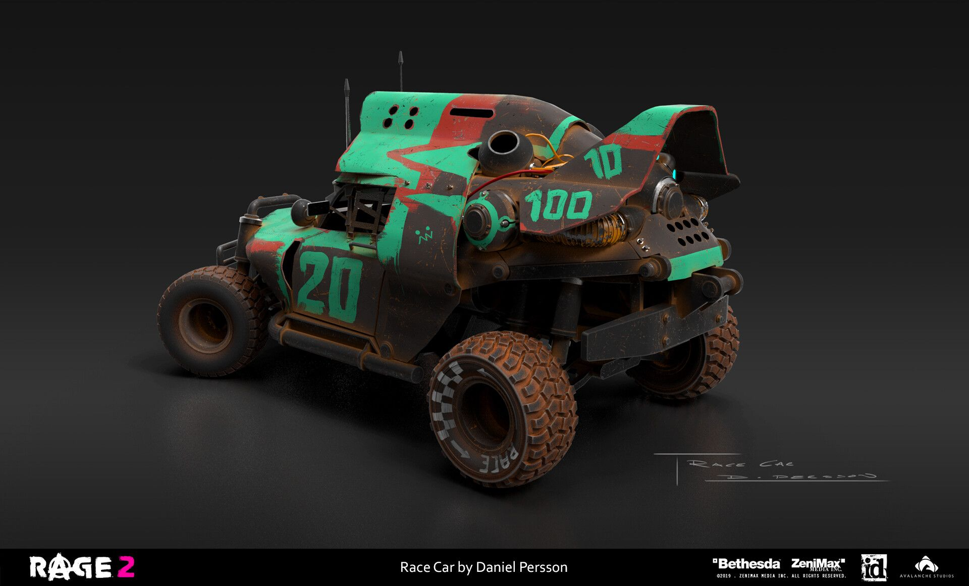 Rage 2 Race Car By Daniel Persson And Here Is Another Production Concept For Rage 2 I Used Maya Keyshot And Photoshop For The Final S Race Cars Racing Car