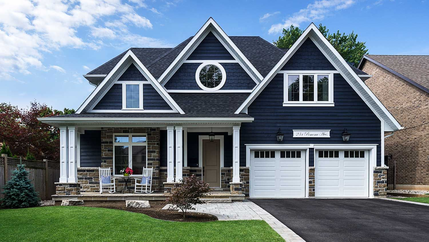 Navy house with white trim floor plans elevations in - Cost to paint exterior trim on house ...