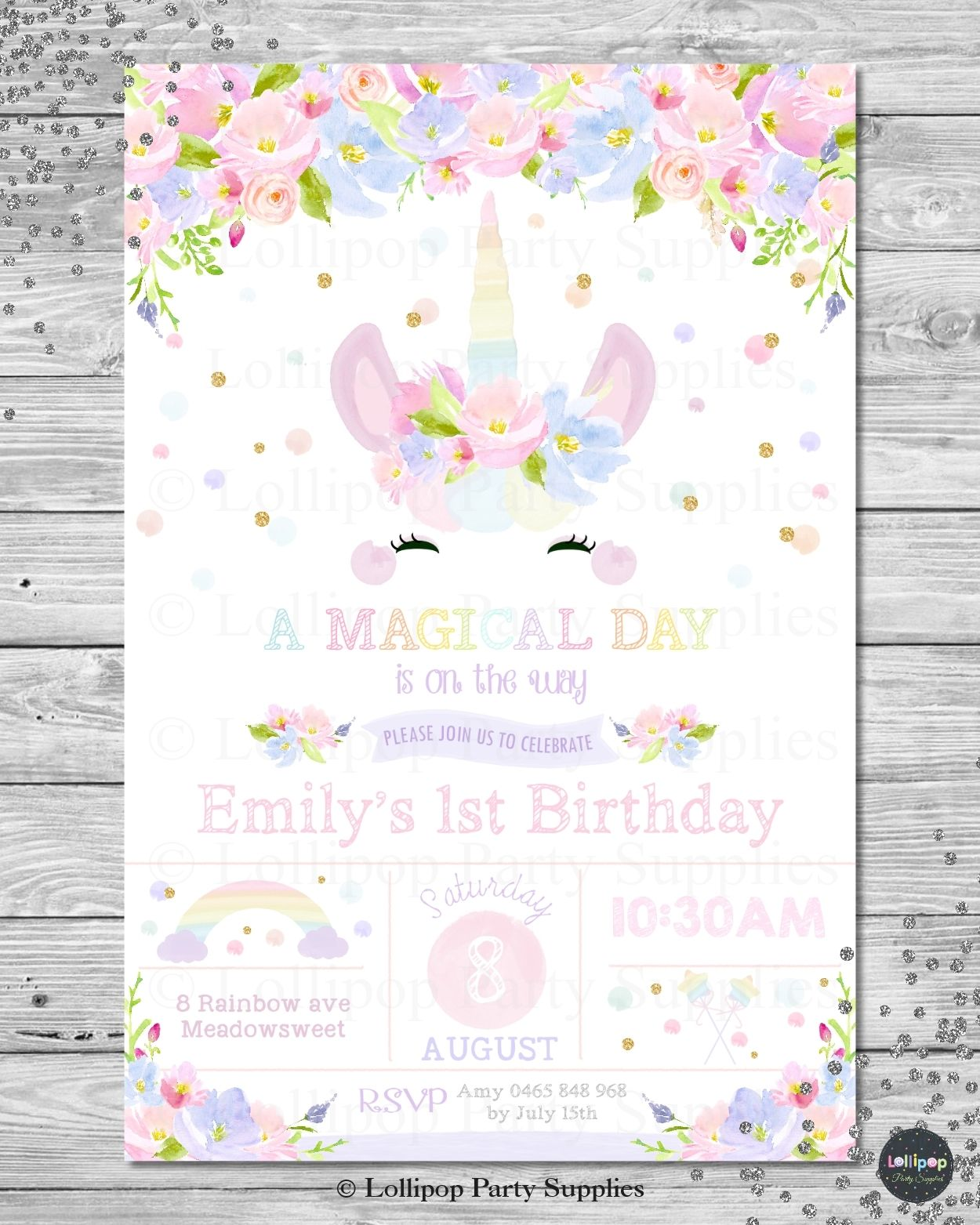 cute unicorn personalised invitation digital or printed ship
