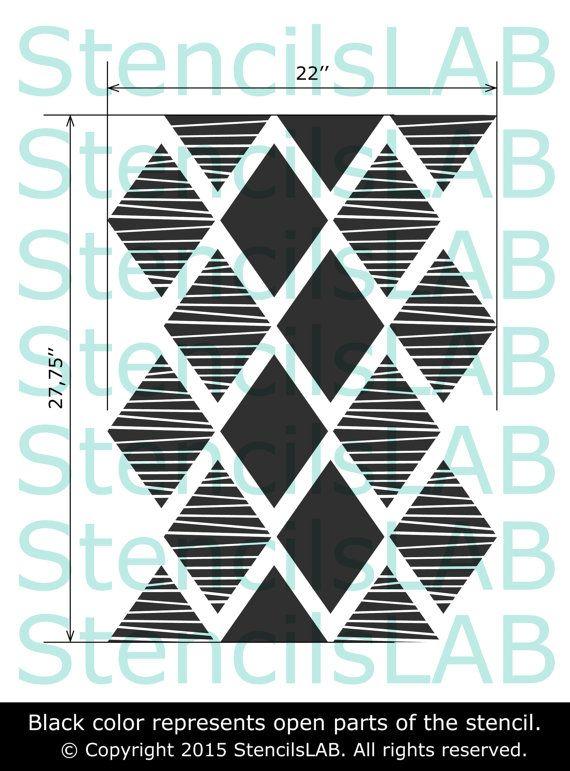 moderne dekorative wand schablone von stencilslabny auf. Black Bedroom Furniture Sets. Home Design Ideas
