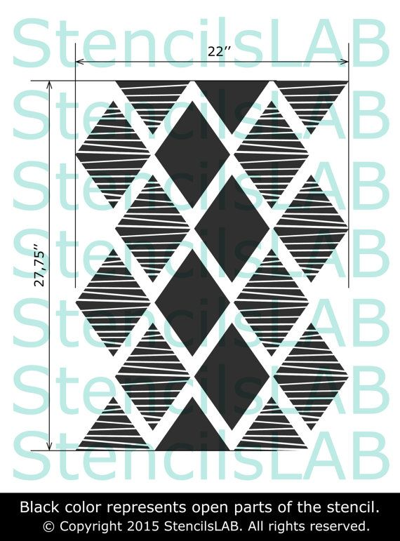 modern decorative wall stencil wall decor ideas reusable stencil for walls rhombus pattern. Black Bedroom Furniture Sets. Home Design Ideas