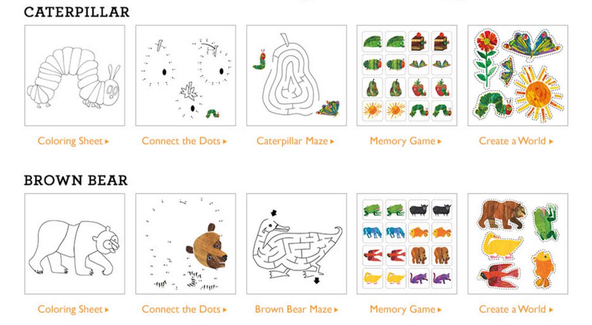 Free Printable ERIC CARLE Coloring Sheets, Activity Sheets