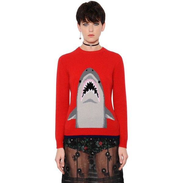 Coach Women Shark Intarsia Cashmere Sweater (25,285 THB) ❤ liked ...