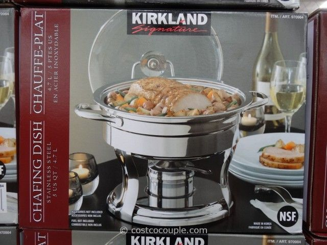 Kirkland Signature 5qt Stainless Steel Round Chafing Dish Costco Specialty Cookware S