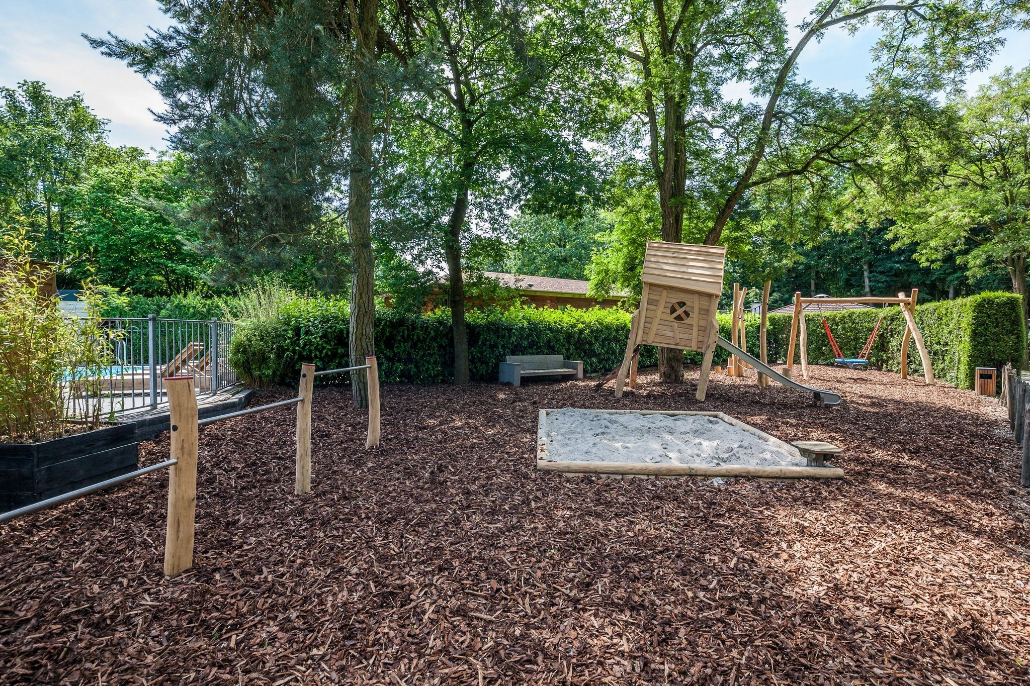 Let's play at the playground at Bungalowpark Het Verscholen Dorp